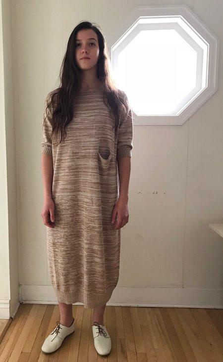 Lauren Manoogian Big Crewneck Dress in Bisque/Crudo