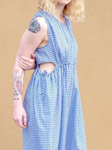 Caron Callahan GOA DRESS IN BLUE GINGHAM