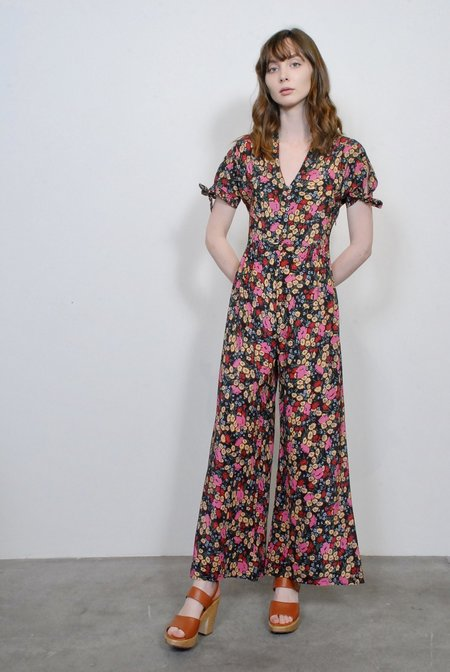 No.6 Althea Jumpsuit in Large Espresso London Floral