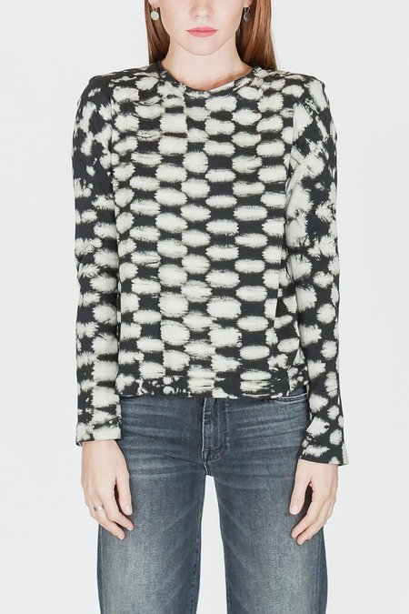 Raquel Allegra Long Sleeve Crewneck Black with White Checker Top