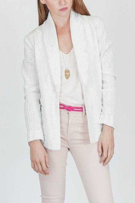Raquel Allegra Textured Gauze Blazer in Dirty White