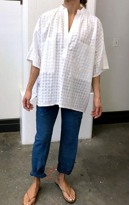 White Grid Two Pocket Shirt - white grid