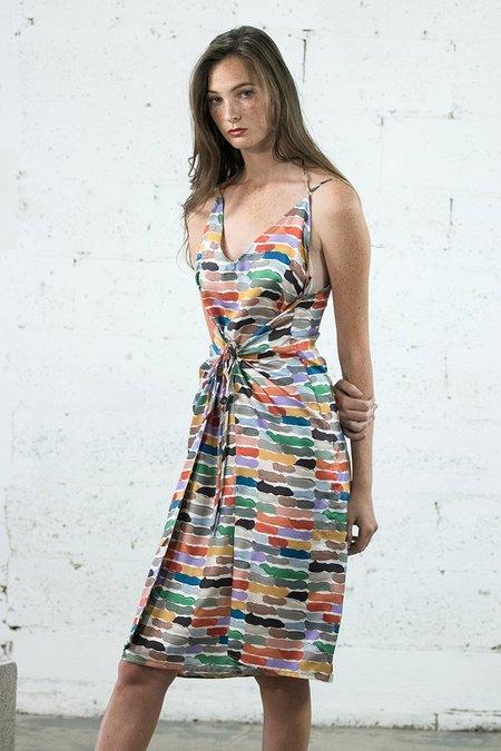 Where Mountains Meet Olive Dress - Lenny print