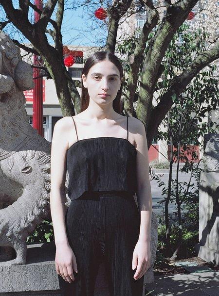 PRISCAVera Pleated Cami Top - Black
