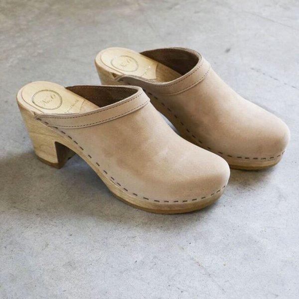 No. 6 Old School High Heel Clog in Bone