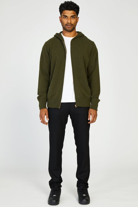 PRESIDENTS CASHMERE ZIP HOODIE - ARMY GREEN