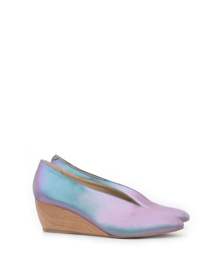 Sydney Brown V-Wedge Matte Iridescent Faux-Nappa