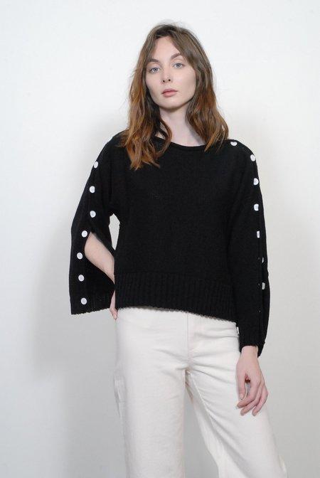 Smythe Button Sleeve Sweater - Black