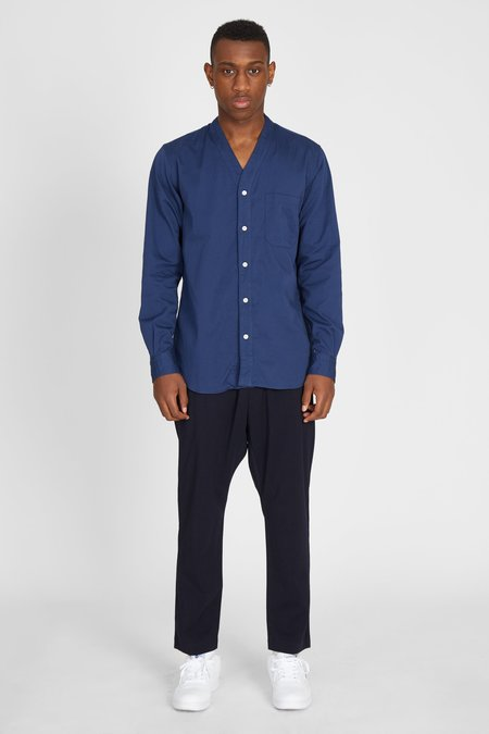 TS(S) Swiss Satin Cotton Cardigan Shirt - Navy