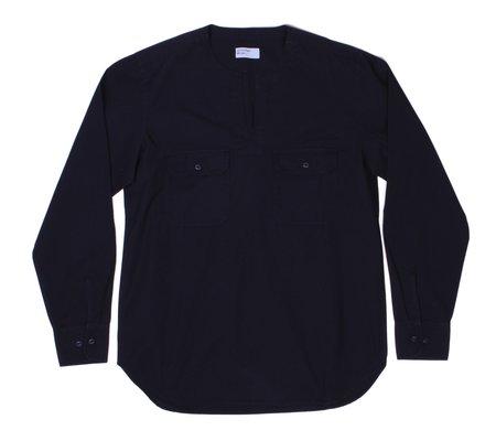 Universal Works Split Neck Shirt - Navy Poplin