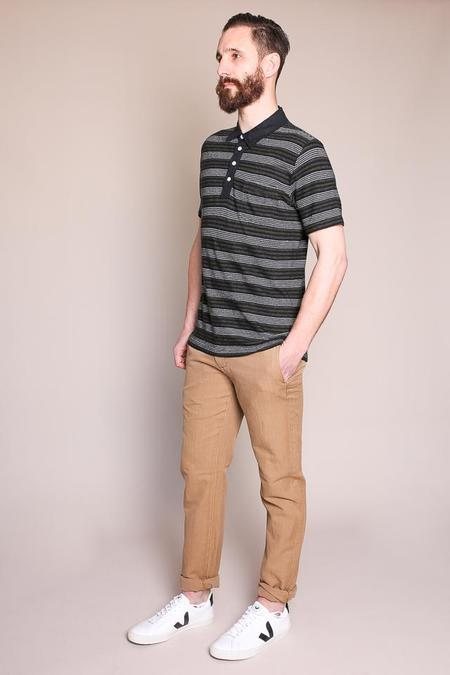Billy Reid Cashmere Stripe Polo in Charcoal