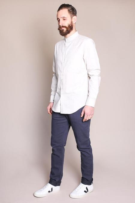 Outclass Flecked Band Collar Shirt in Off-White