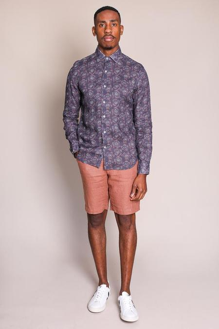 Culturata Large Floral Print Shirt in Navy