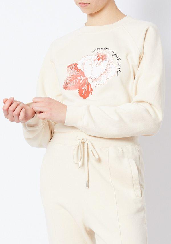Ganni Lott Isoli Pardon My French Cream Sweatshirt