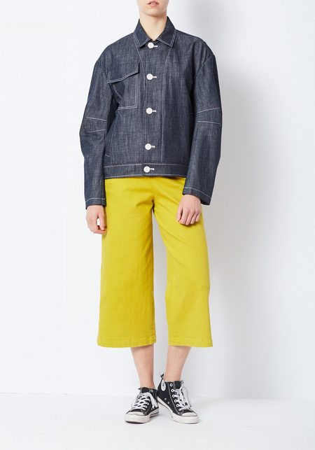 Tibi Raw Denim Sculpted Bomber