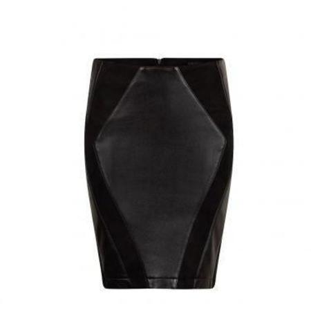 Ignore Saya eco leather skirt black