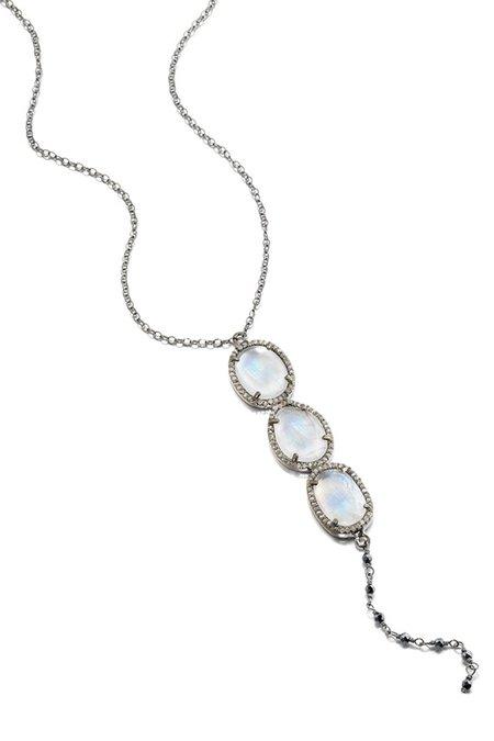 Ela Rae Yaeli Diamond Moonstone Trio Necklace