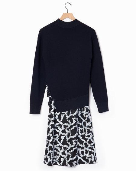 Carven Knit Combo Dress - Navy