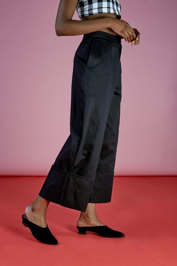 Wolcott : Takemoto Georgia Cuff Pant in Black Cotton Twill