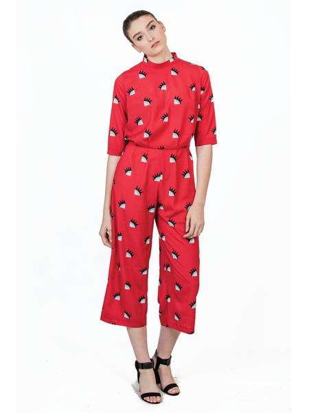 "One Imaginary Girl ""Desiree"" Eyelash Print Jumpsuit - Red"