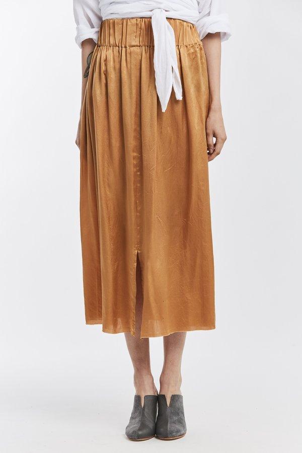 Miranda Bennett Studio Sale: Paper Bag Skirt - Silk Charmeuse in Sand