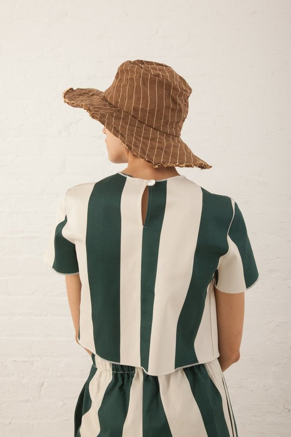 Reinhard Plank Cotton Textile Hat - Brown Stripe