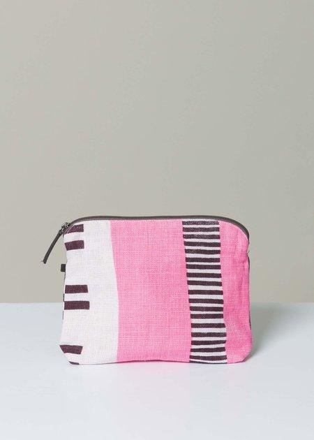 Epice Colorblock Stripe Linen Pouch - Pink