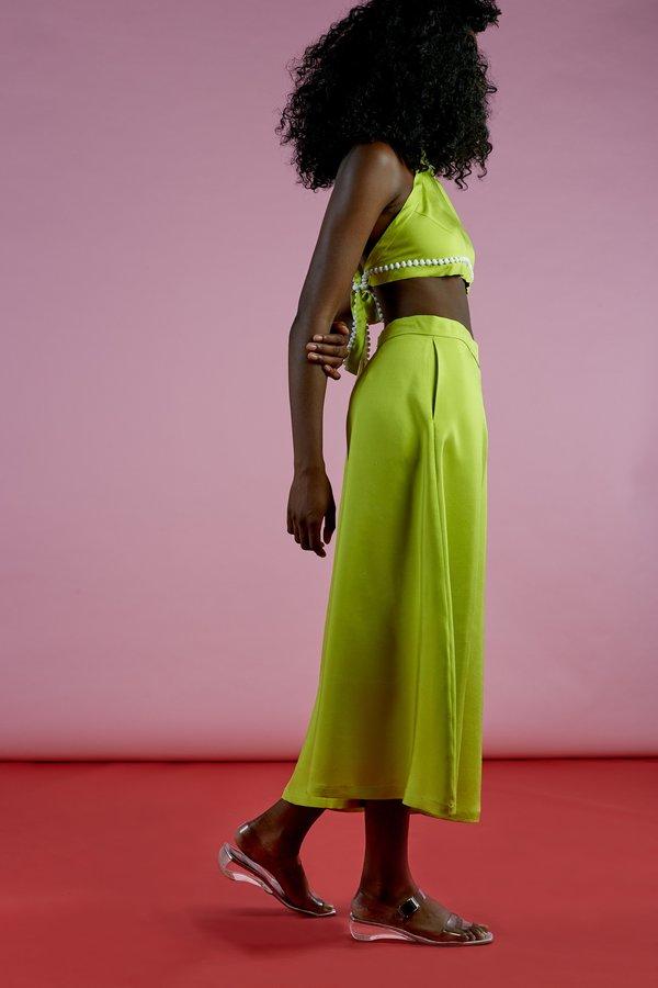 Wolcott : Takemoto Knavish Culotte In Green Dupioni