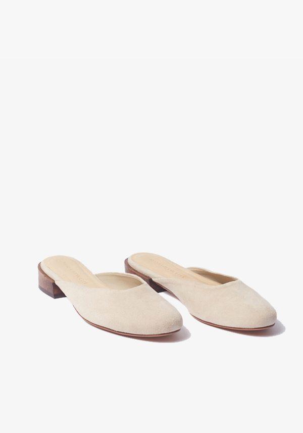 Mari Giudicelli Flat Leblon Mule - Areia Gray Suede