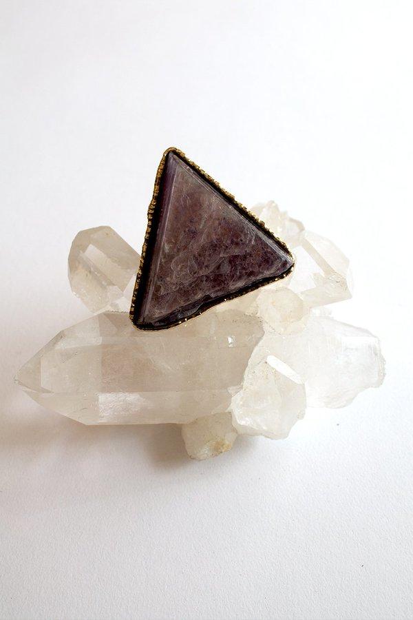 Sheila B Lepidolite Cocktail Ring