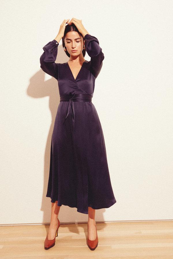 Kamperett Linden Silk Midi Wrap Dress - Midnight