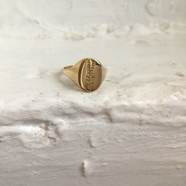 Claus Jewelry Lavender Signet Ring - Recycled Brass or Silver