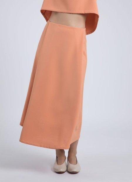 Kaarem Stream Deep Pleated Midi Skirt - Papaya