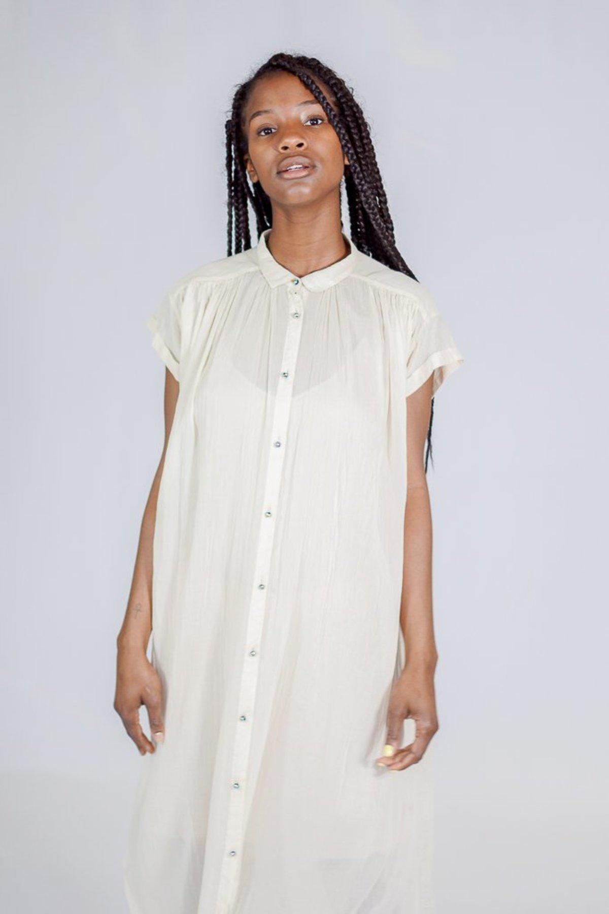 177c8a8aadbcb8 Giada Forte Long Shirred Button Up Cream Sleeveless Dress