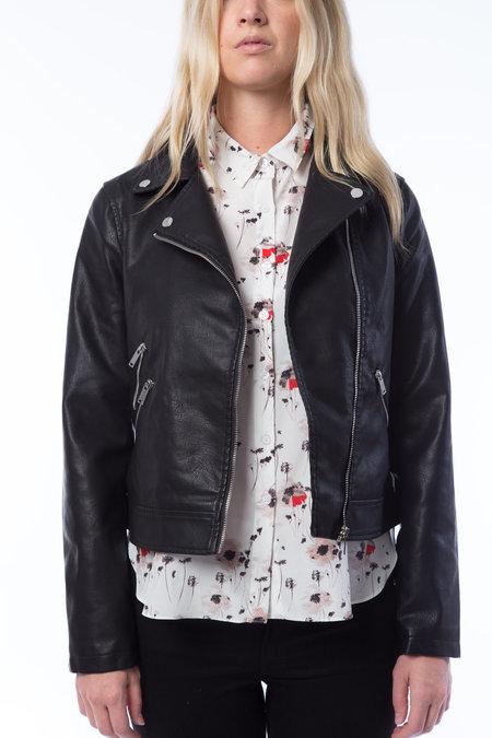 NOISY MAY Leather Moto Jacket - BLACK