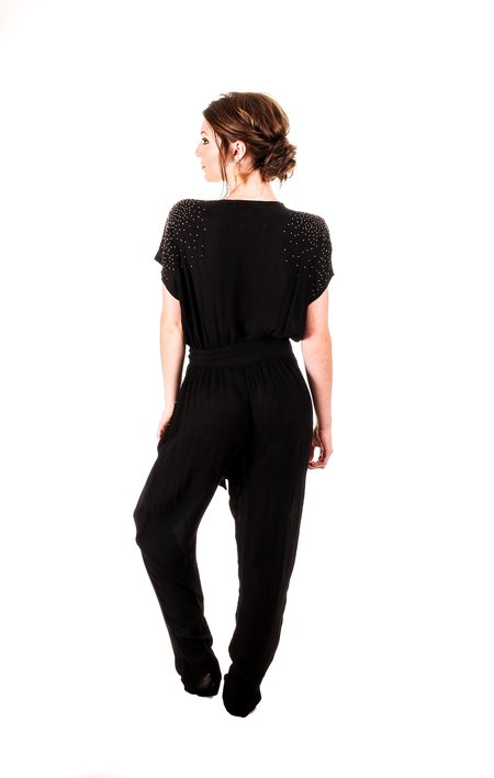 Symbology Beaded Wrap Jumper - BLACK