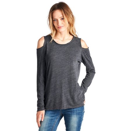 Nation Ltd Olivia Cold Shoulder Tee - Charcoal