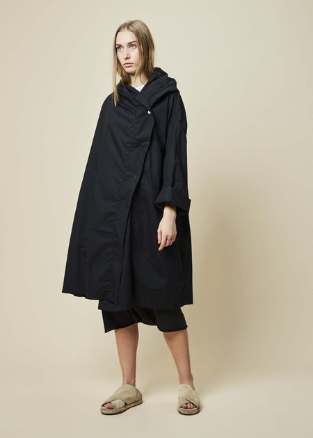 Raffauf Hooded Oversize Spring Coat - Black