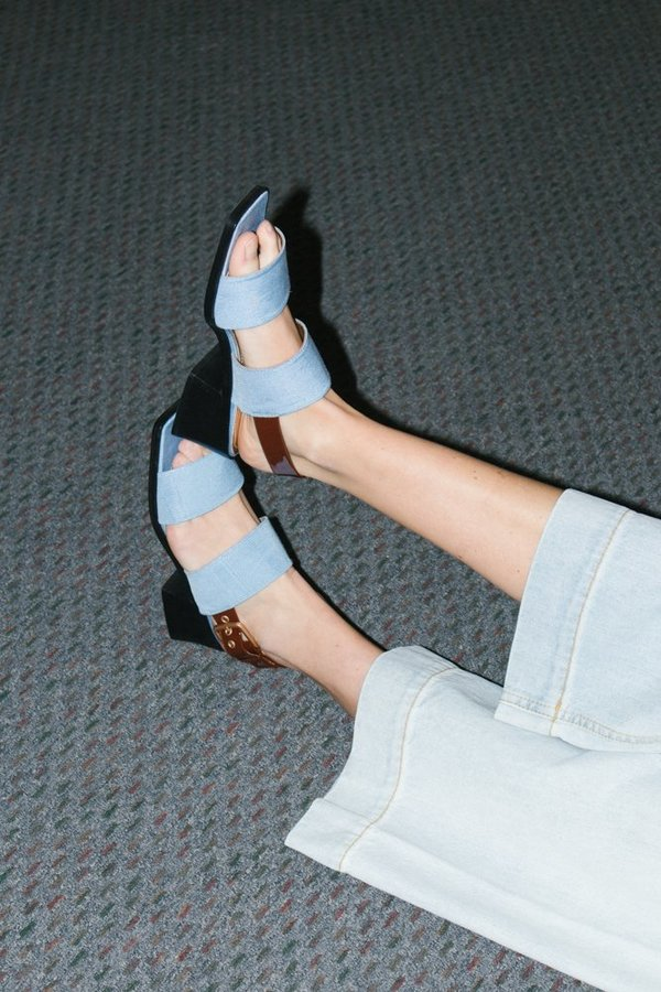 Suzanne Rae Sandal with Welt Sole - Blue/Brown