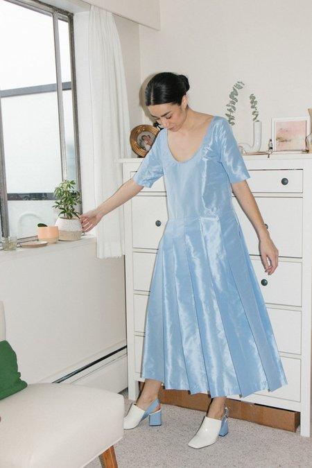 Suzanne Rae Pleated Skirt Dress - Powder Blue