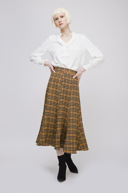 Two Dots Checked Midi Skirt