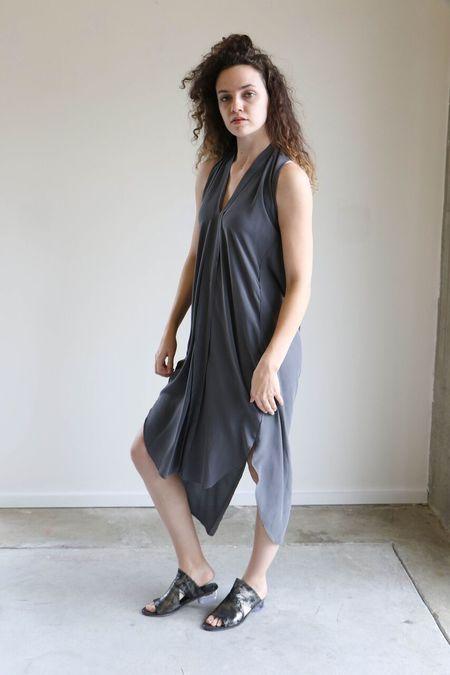7115 By Szeki Silk Origami Dress - Stone Gray