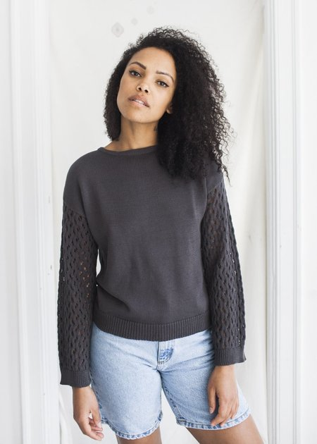 Wol Hide Lace Sleeve Pullover - Washed Black