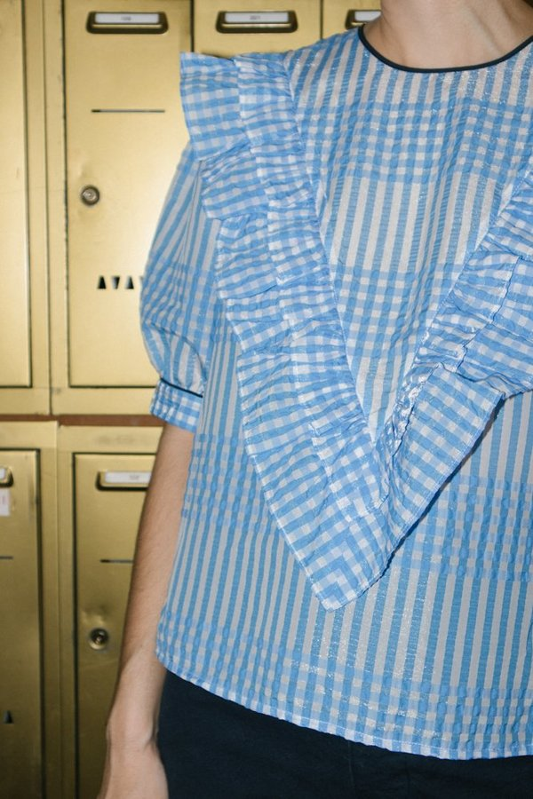 Ganni Charron Short Sleeve Top - Gingham