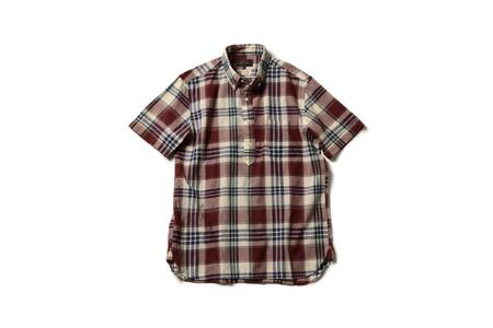 Beams + Pullover Madras Shirt - Off White