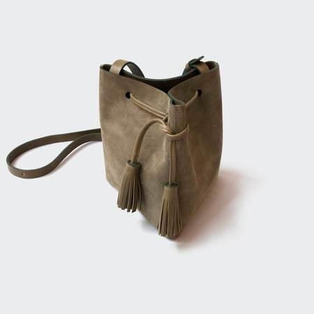VereVerto Mini Tris Crossbody Bucket Bag - Cedar Suede