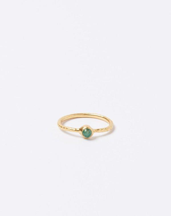 Ida James Hammered Solitaire Brass Emerald Ring