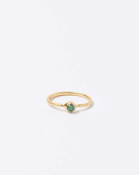 Ida James Hammered Solitaire Emerald Ring - Brass