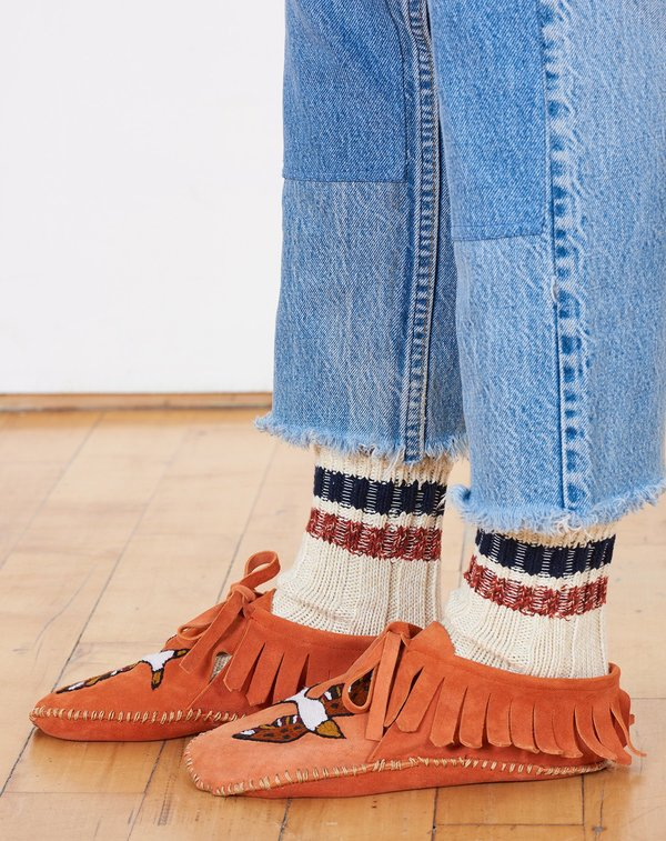 Brother Vellies Suede Embroidered Mocassins in Sunset