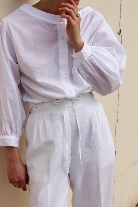 Avenue Full Sleeve Drawstring Blouse - White